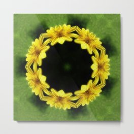 Large Yellow Wildflower Kaleidoscope Art 3 Metal Print