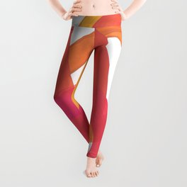 Warm Candy Colors Magenta Yellow Nesting Circles Ombre Leggings