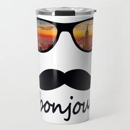 bonjour New York Mustache Travel Mug