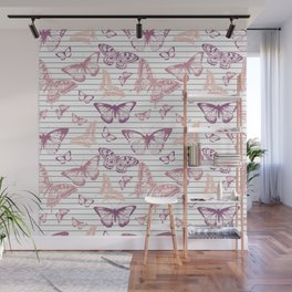 Minimal Black and White Stripes and Rose Gold Butterflies Wall Mural