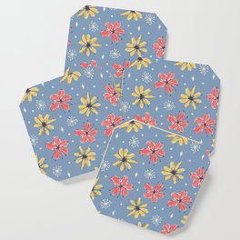 yellow and red flowers on blue Coaster