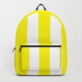 Cadmium yellow - solid color - white vertical lines pattern Backpack