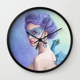 Fantasy winter woman, beautiful snow queen in mask with blue dragon Wall Clock