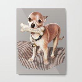 Little Dog, Big Bone Metal Print