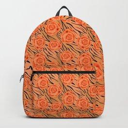 Orange roses on tiger pattern . Backpack
