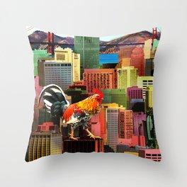 San Francisco City Chicken Throw Pillow
