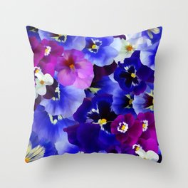 Abstract blue purple pink white pansies floral Throw Pillow