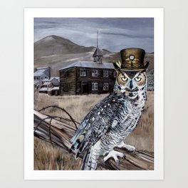 The Owl and the Schoolhouse Art Print