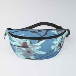 White Magnolia Bloom Blue Sky Fanny Pack