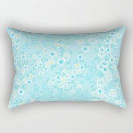 Forget Me Knot - Little Flowers on aqua Rectangular Pillow