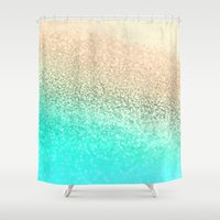 aqua Shower Curtains featuring GOLD AQUA by Monika Strigel®