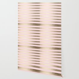 Stripes White Gold Sands on Pink Flamingo Wallpaper