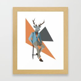 Low Poly Deer Framed Art Print