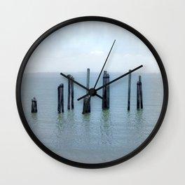 Tokeland, Willapa Bay, Washington Pier, River Pilings Wall Clock