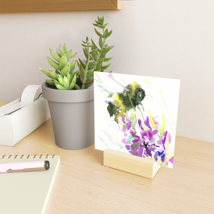 Bumblebee and Flowers floral bee design Mini Art Print