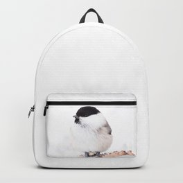 Cute Willow Tit sitting in the snow #decor #buyart #society6 Backpack