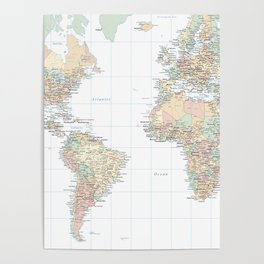 Clear World Map Poster