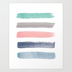 Colored Watercolor Brush Strokes Art Print