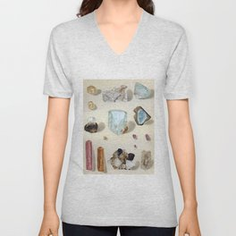 The Mineral Kingdom by Dr. Reinhard Brauns, 1903. Germany. Beautiful Gems Mineral Jewels Unisex V-Neck