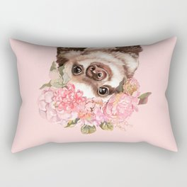 Baby Sloth with Flowers Crown Rectangular Pillow