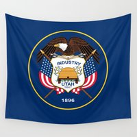 utah Wall Tapestries featuring Utah State Flag - Authentic Version by Bruce Stanfield