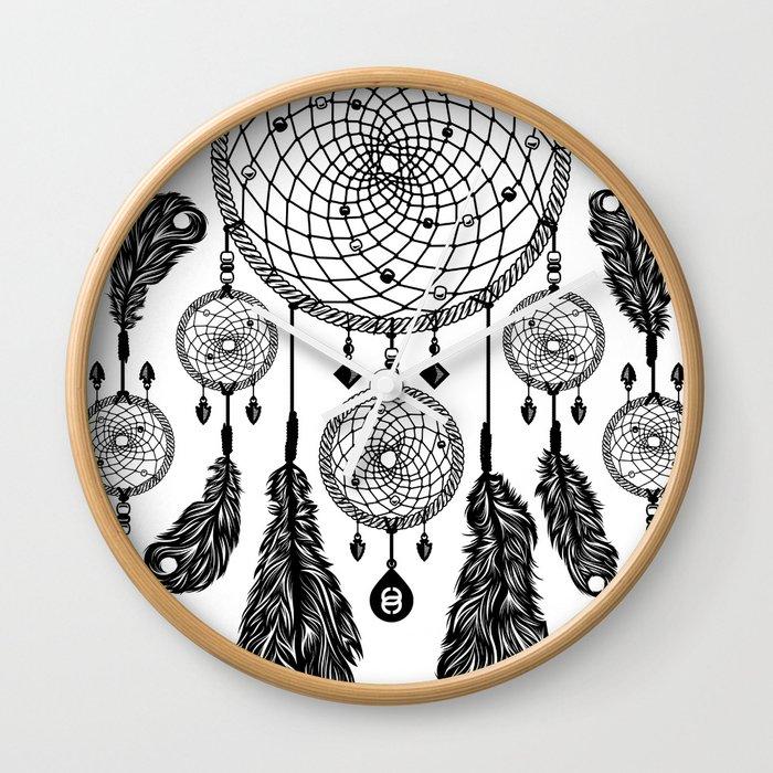 Dreamcatcher (Black & White) Wall Clock