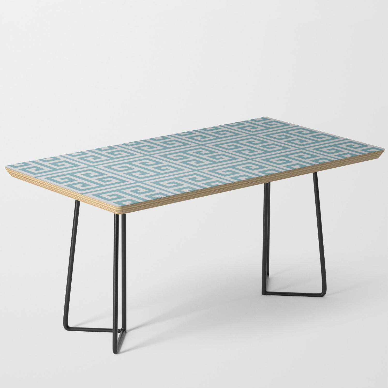 Dusky Blue Greek Key Motif Coffee Table By Kcavender