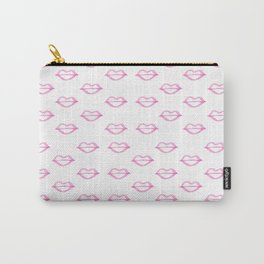 Trendy hand painted watercolor pink  cool lips Carry-All Pouch