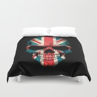 british flag Duvet Covers featuring British Flag Skull on Black by Jeff Bartels