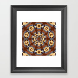 Blue Wood Kaleido Pattern Framed Art Print