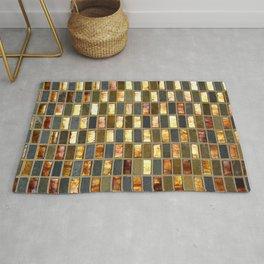Black Gold Copper Tile Rug