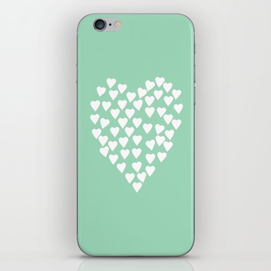 Hearts Heart White on Mint iPhone & iPod Skin