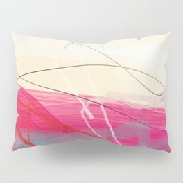 abstract landscape with pink sky over white cloud mountain Pillow Sham
