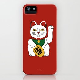 Maneki Neko - lucky cat - red iPhone Case