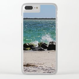 Teal Rapture Clear iPhone Case