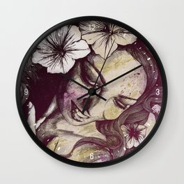 In The Year Of Our Lord: Wine (smiling lady with petunias) Wall Clock