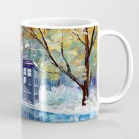 fandom Mugs featuring Starry Winter blue phone box Digital Art iPhone 4 4s 5 5c 6, pillow case, mugs and tshirt by Three Second