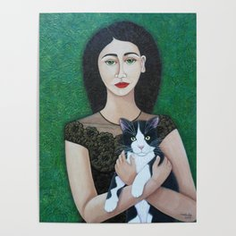 Woman with cat soul Poster