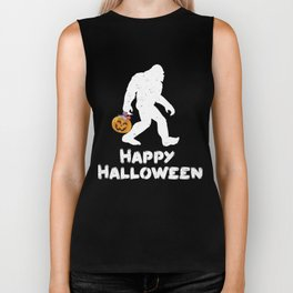 Bigfoot Trick or Treating Happy Halloween Biker Tank