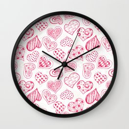 Pattern with red hearts Wall Clock