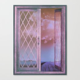 Lavender Fields in Window Shabby Chic original art Canvas Print