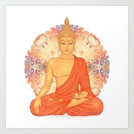 Sitting Buddha over ornate mandala round pattern Art Print