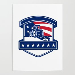 Brush Hogging Services USA Flag Badge Poster