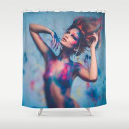 Young woman muse with creative body art and hairdo (14) Shower Curtain