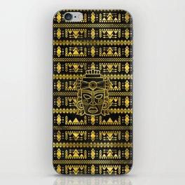 Gold  Aztec Inca Mayan Mask iPhone Skin
