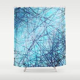 World Wide Web White & Blue Shower Curtain