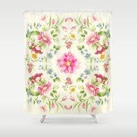 folk Shower Curtains featuring folk floral by clemm