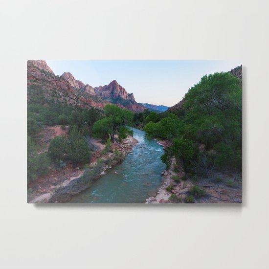 End Of Day Virgin River (Zion National Park, Utah) Metal Print