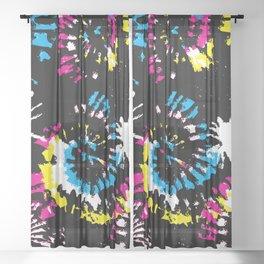 Splash Brush CMYK Colorful Shibori Tie Dye Sheer Curtain