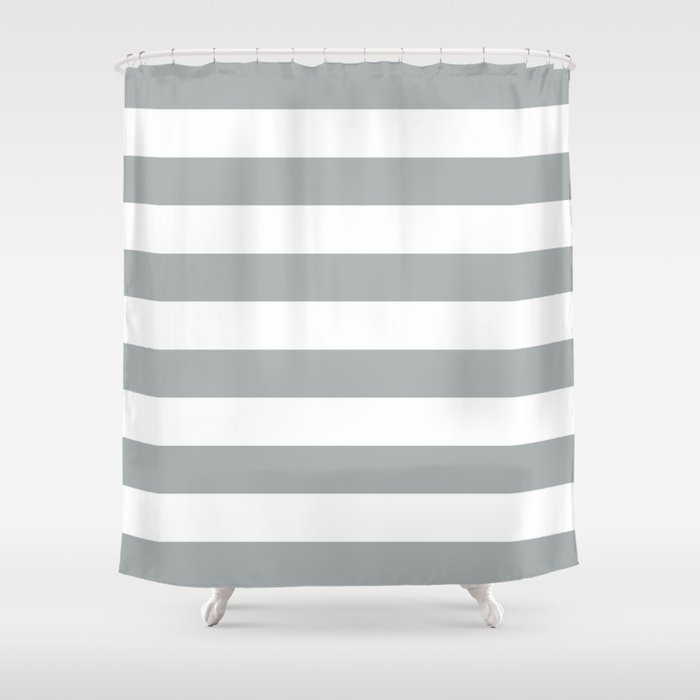 Stripe Horizontal Grey & White Shower Curtain by beautifulhomes ...